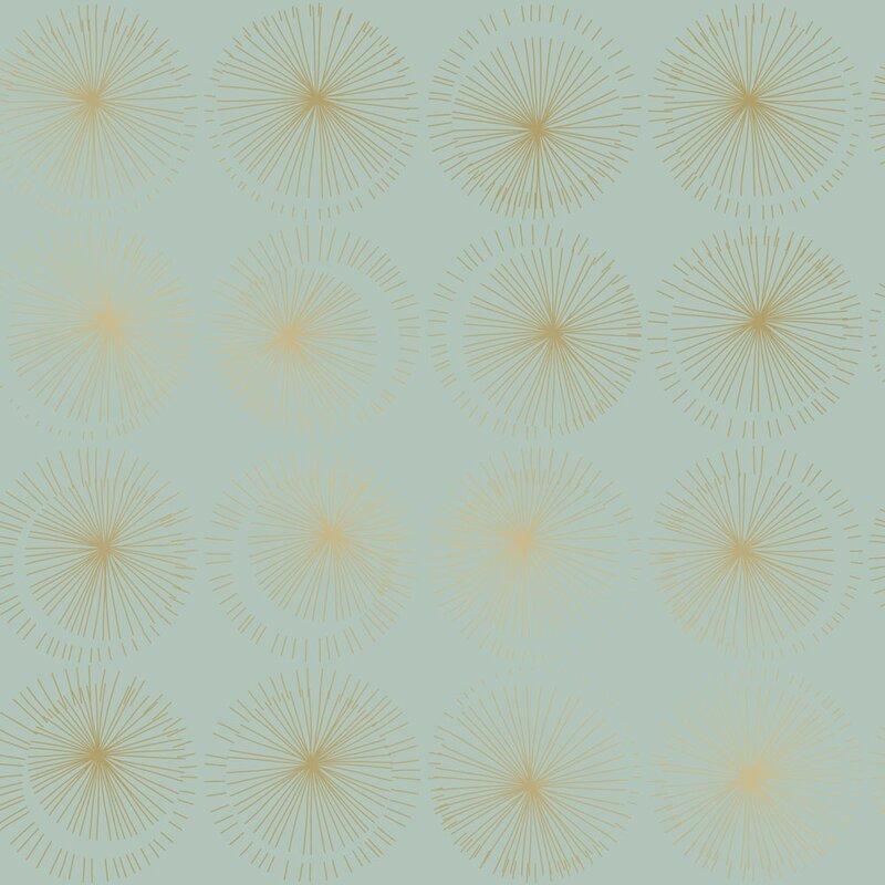 Gold starburst peel and stick wallpaper