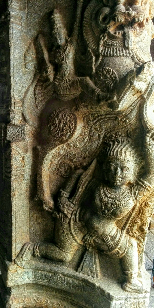 Mythological creature and warriors on the walls of Veerbhadra temple, Lepakshi