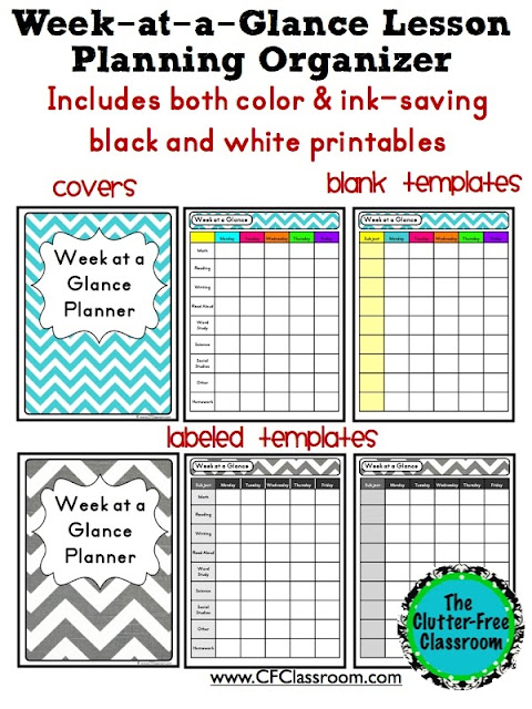 week at a glance planner a graphic organizer for lesson planning clutter free classroom