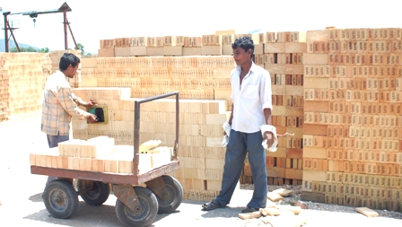 Refractory Bricks being stacked - representative image