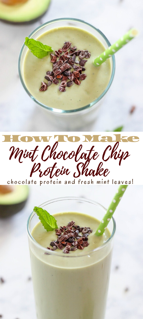 Mint Chocolate Chip Protein Shake #healthydrink #drinkrecipe #smoothiehealthy #cocktail