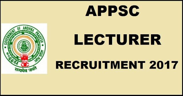 APPSC Lecturer Recruitment Notification 2017 Apply Online