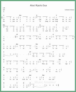 not angka lagu alosi ripolo dua lagu daerah sulawesi selatan