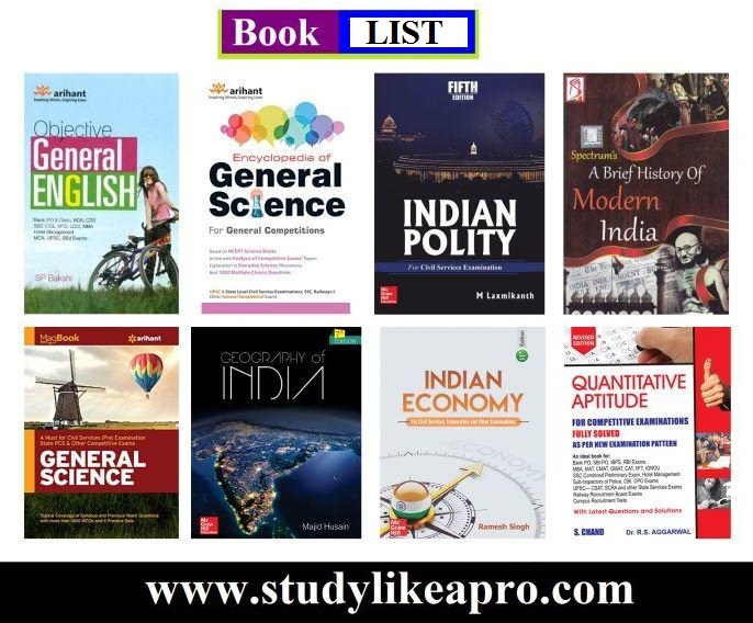Recommended booklist For Competitive Exams