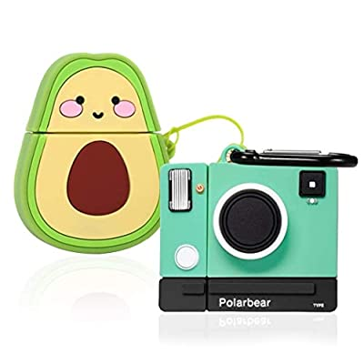 48% Off (2 Pack) Avocado + Camera Cartoon Case Compatible with Airpods, G.P Funny Cute Cool for Girls Boys Kids Teens Women, Fun Character Skin Soft Silicone Cover Compatible with Air pods 2/1
