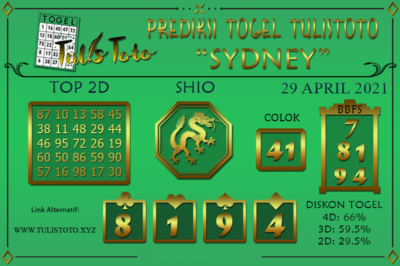 Prediksi Togel SYDNEY TULISTOTO 29 APRIL 2021