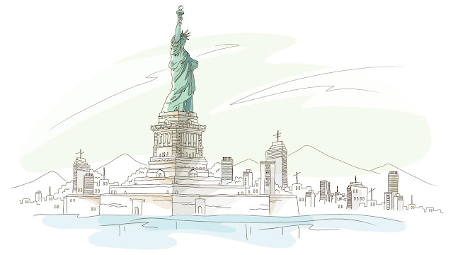 Beautiful drawing of Statue of Liberty