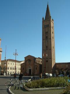 The Abbey of San Mercuriale dominates Piazza Aurelio Saffi in Forlì