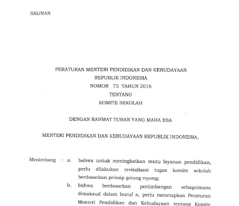 Berikut Kami Sampaikan Informasi Terkait Permendikbud Nomor  Tentang Komite Sekolah Komite Sekolah Adalah Lembaga Mandiri Yang Beranggotakan