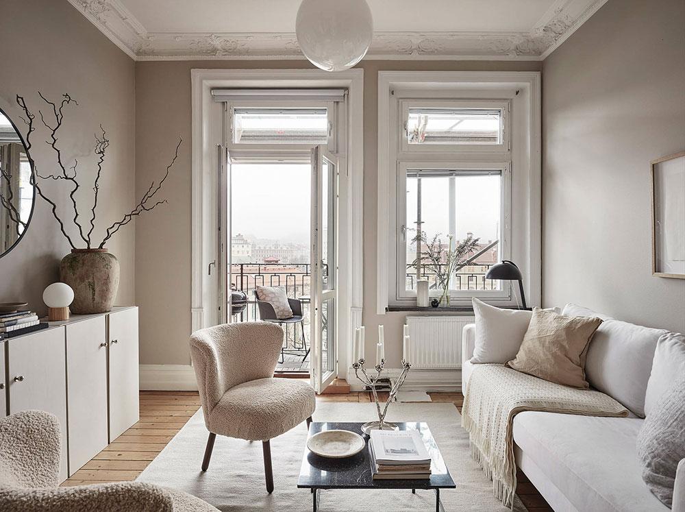 Soft beige in a typical Scandinavian decor