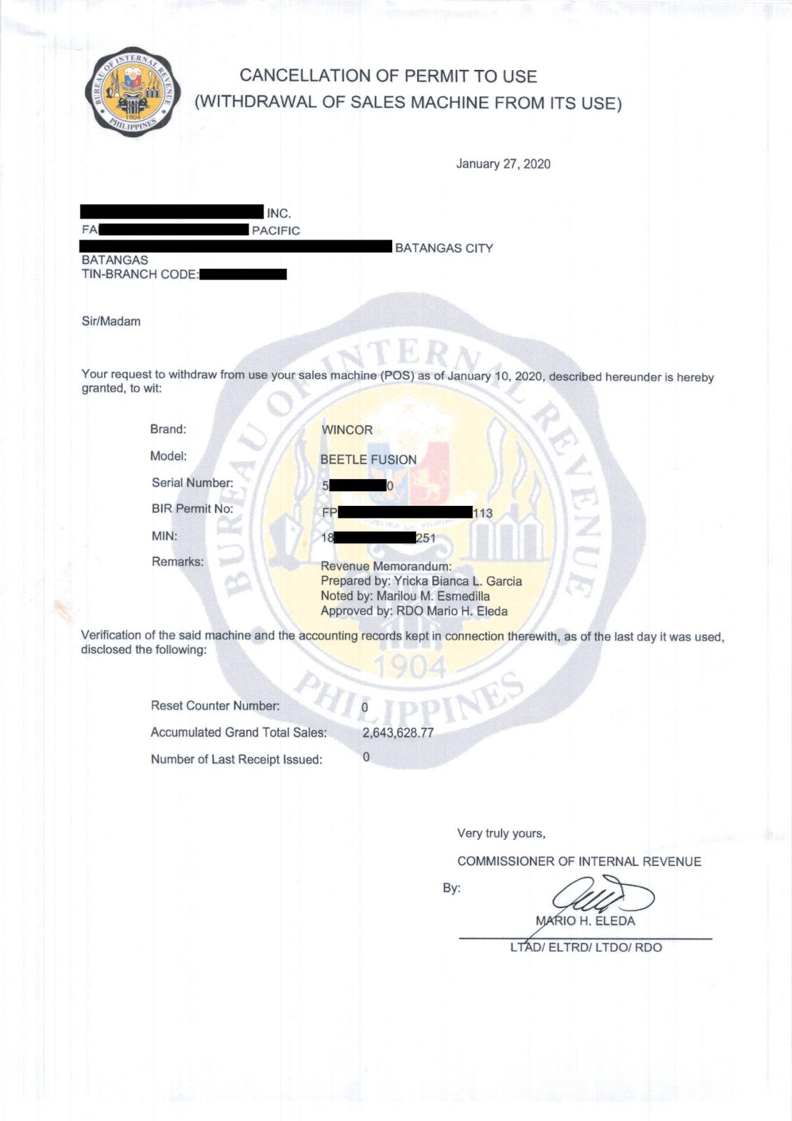 RDO 034 : Cancellation of Permit To Use CRM/POS ~ Explore