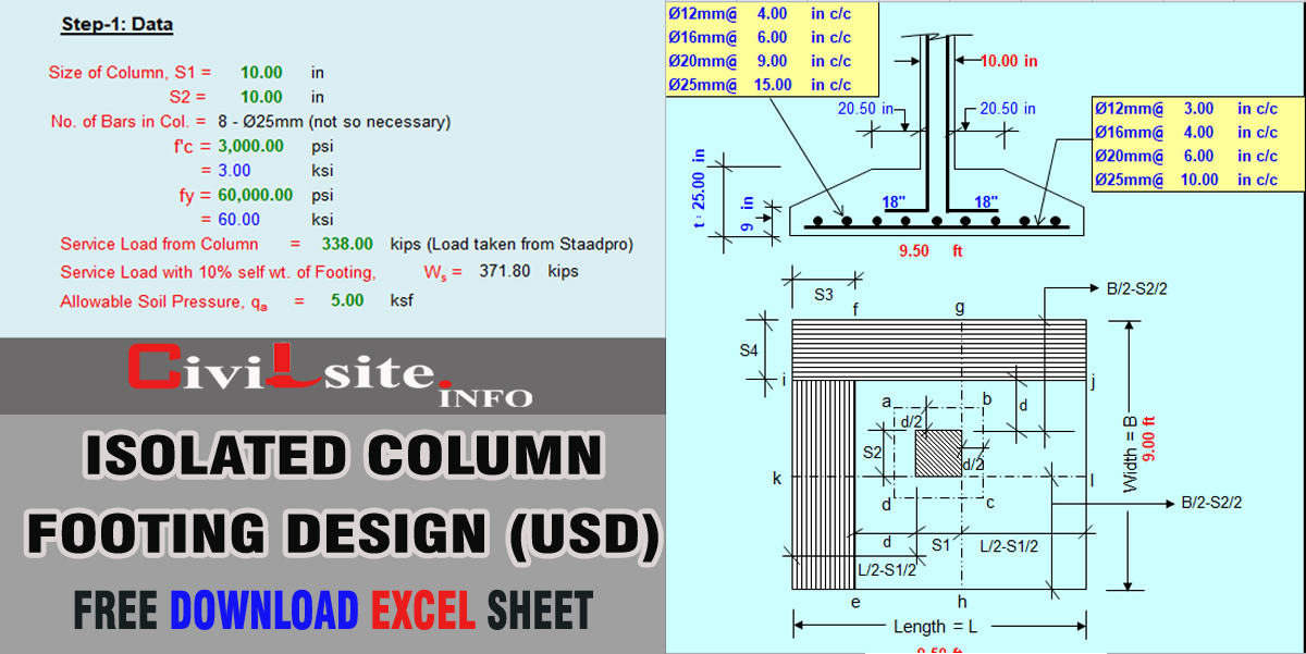 Isolated Column Footing Design in Excel