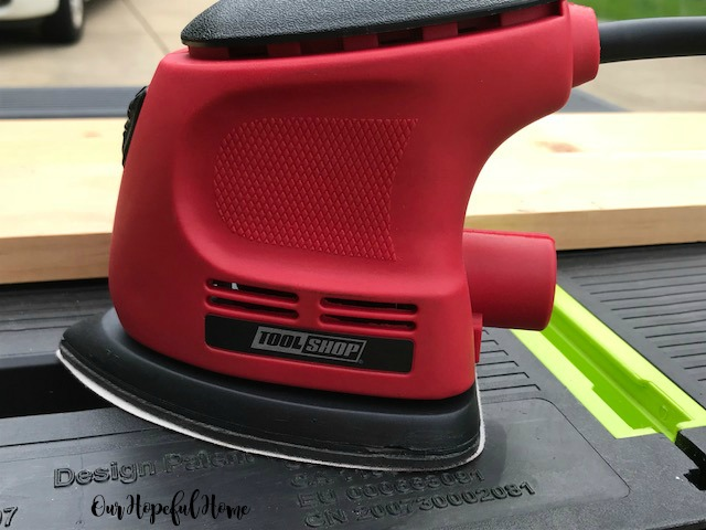 Tool Shop red palm sander DIY wood shlves
