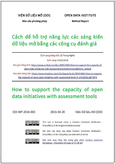 'Cách để hỗ trợ năng lực các sáng kiến dữ liệu mở bằng các công cụ đánh giá' - bản dịch sang tiếng Việt