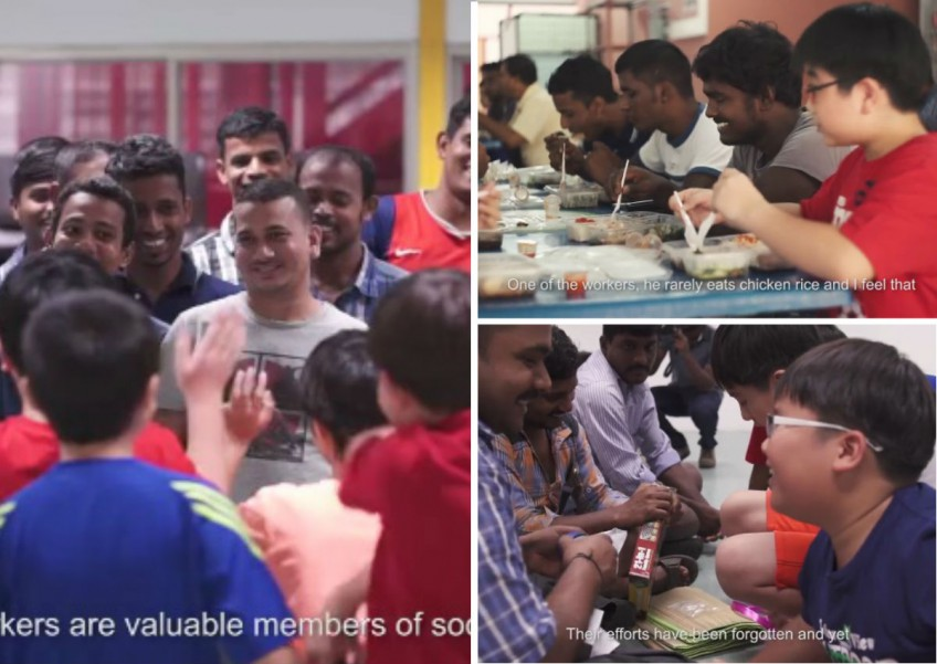 Packets of chicken rice were delivered by a group of fun-loving children to workers at a dormitory in Singapore recently.