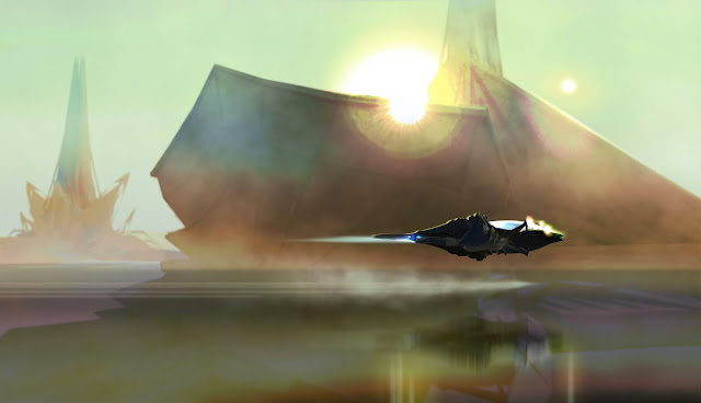 A moody sci-fi setting of a spaceship flying in front of another ship-like structure with a strong solar flare behind it. Overall colors are green, purple, orange, and umbers.