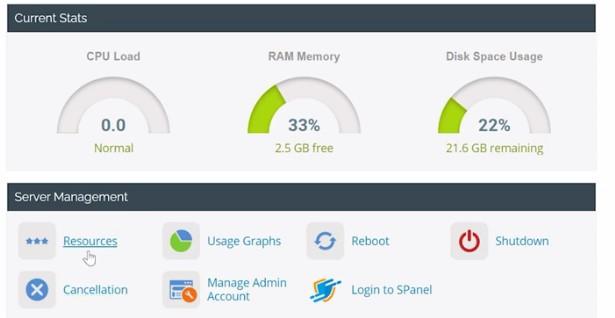Scala VPS RAM Usage graph in dashboard