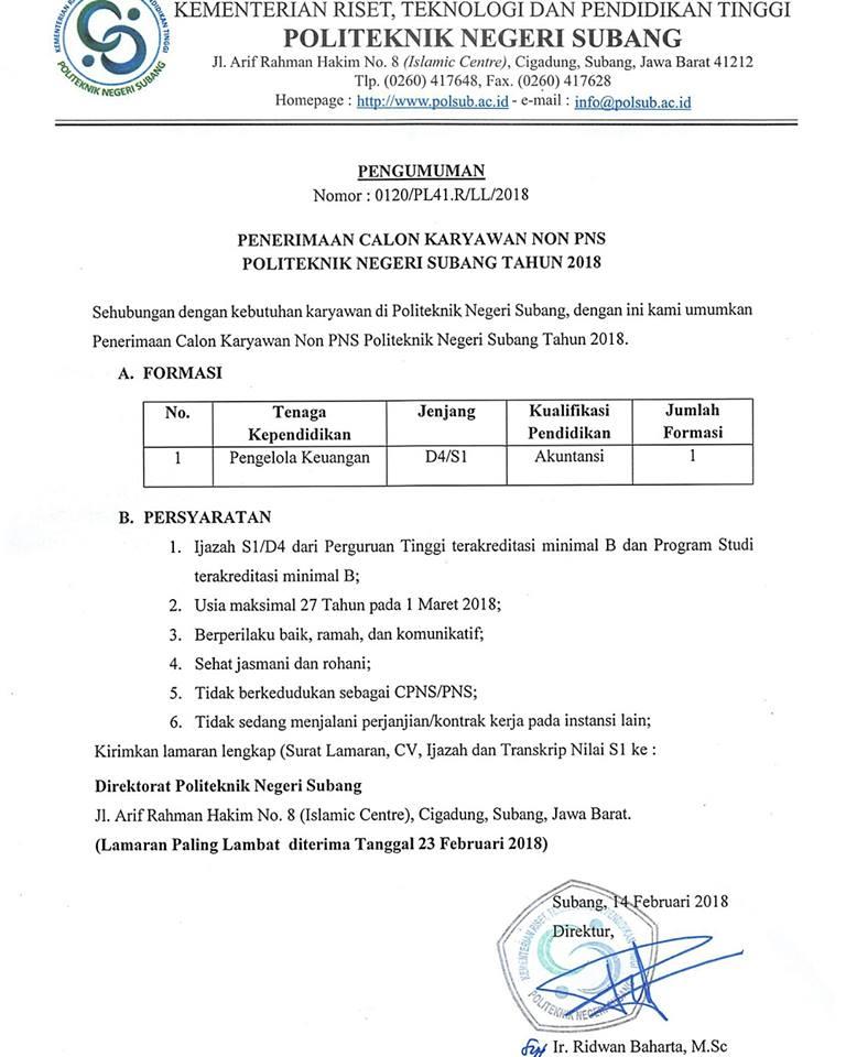 Lowongan Pegawai Pengelola Keuangan Politeknik Negeri Subang
