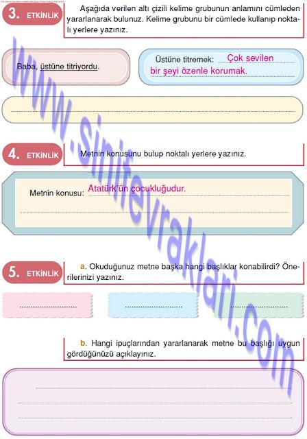 Doku Yayınları 4. Sınıf Türkçe Çalışma Kitabı Cevapları Sayfa 42