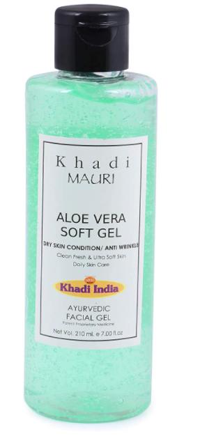 Khadi Mauri Herbal Aloe Vera Gel - Anti Acne & Anti Pigmentation, Overall Skin Nourisher, NO PARABEN - 210 ML