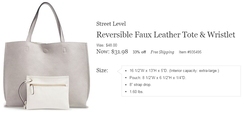 Street Level Reversible Faux Leather Tote just went on sale at Nordstrom for only $32 (reg $48)