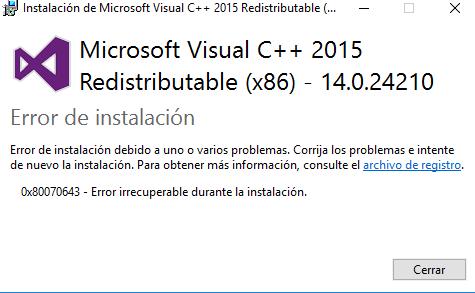 0x80070643 error irrecuperable durante la instalación