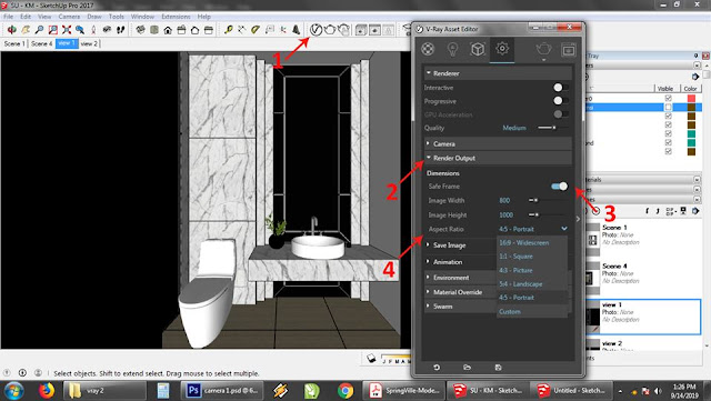 setting camera outpu render vray 3 for sketchup