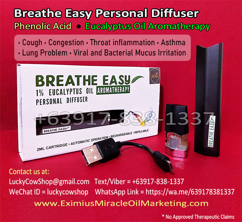 Breathe Easy Personal Diffuser Phenolic Acid Eucalyptus Oil Aromatherapy