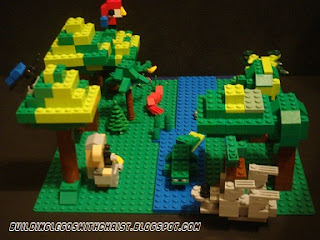 South America Rainforest LEGO Creation, Lego Sloth, Homeschooling with Legos