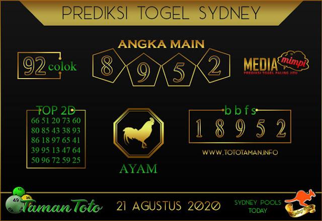 Prediksi Togel SYDNEY TAMAN TOTO 21 AGUSTUS 2020