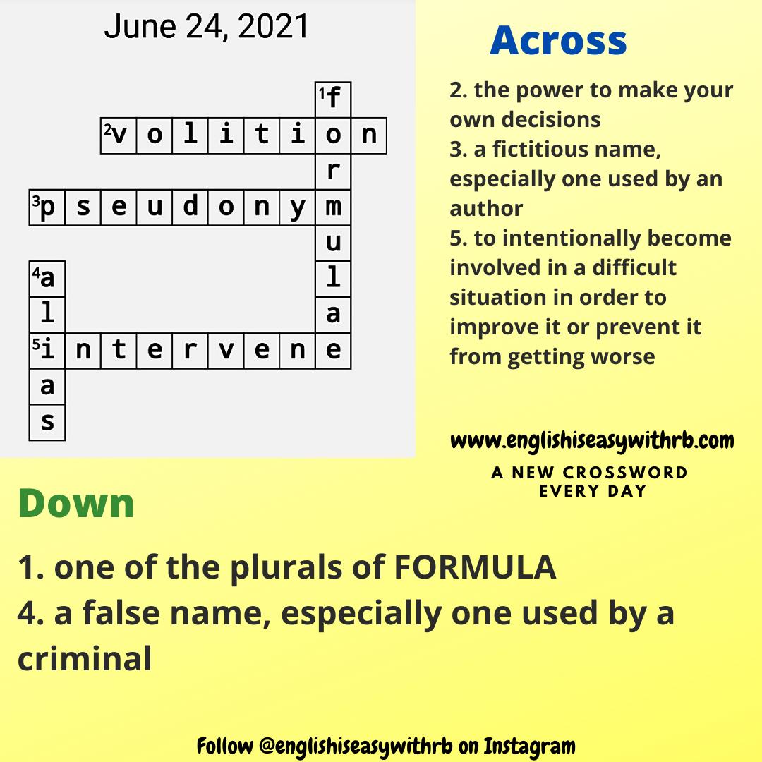 crossword, englishiseasywithrb