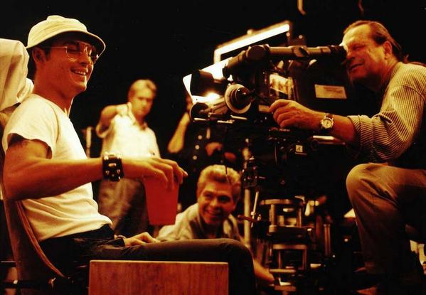 Johnny Depp and Terry Gilliam on the set of Fear and Loathing in Las Vegas, 1997