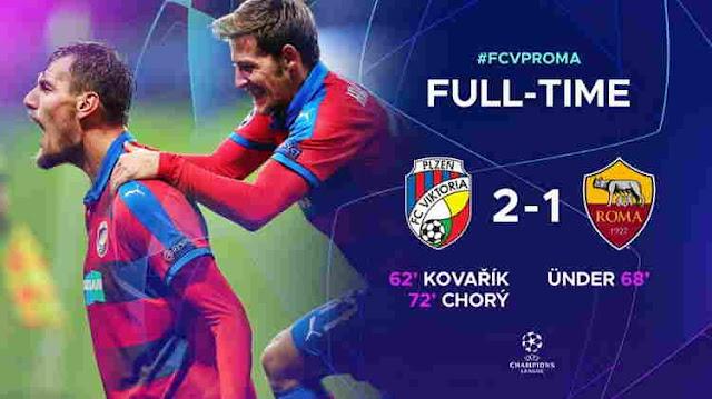 Hasil Viktoria Plzen vs AS Roma Skor Akhir 2-1