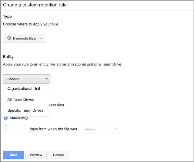Cree una norma de retención personalizada para HangoutsMeet