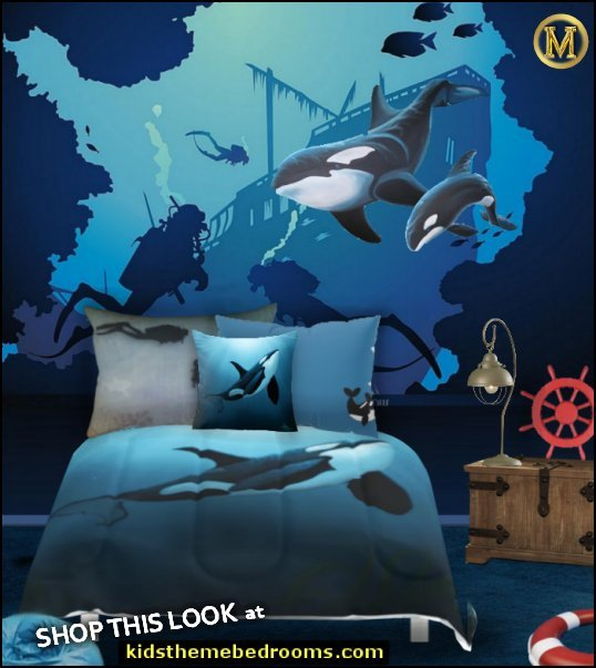 sunken treasure bedroom killer whale wall mural diving mural whale bedding  whale theme bedroom ideas - whale theme decor - whale wall murals - underwater theme bedrooms - whale theme nursery.- whales bedding - whales wall decal stickers - boat beds - decorating playrooms - whale decor