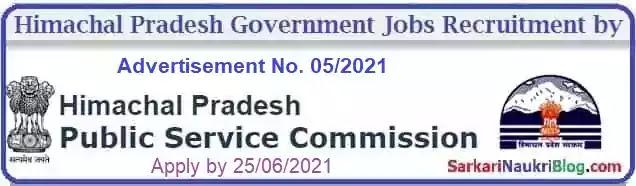 Himachal PSC Government Jobs Recruitment Advt. No. 5/2021