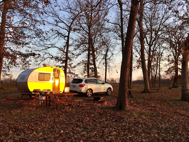 Tiny trailer camping at Indian Lake, Farmington Iowa. Rustic Trails Teardrop Campers