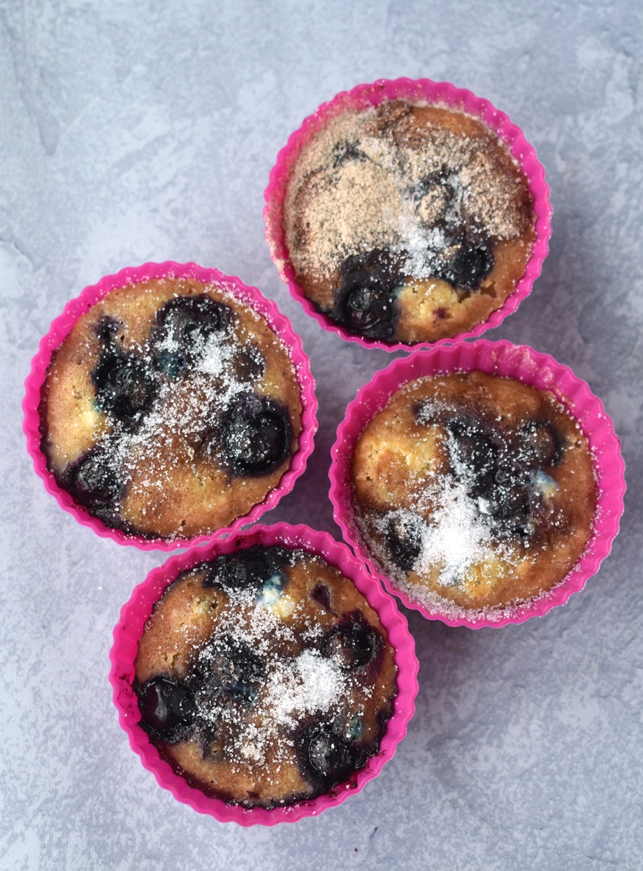 Greek yogurt blueberry muffins in silicone muffin liners