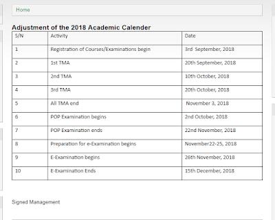 2018 NOUN Academic Calendar  National Open University of Nigeria.