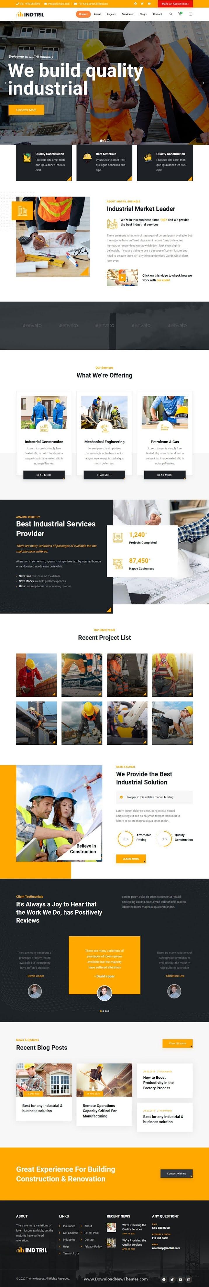 Construction Renovation Website Template