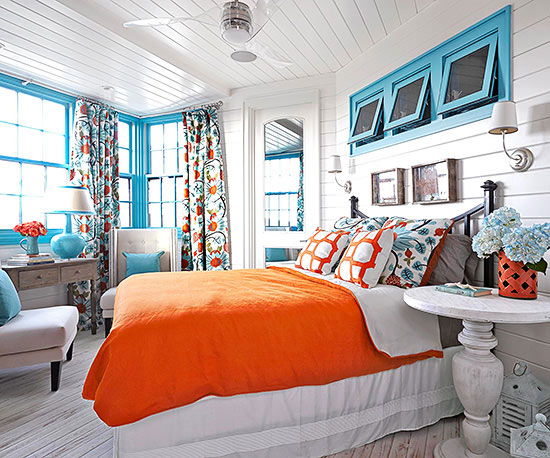 Paint Colors for Minimalist Bedrooms in Orange and Blue