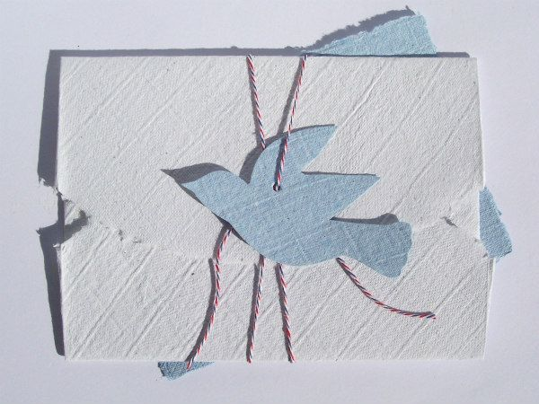 handmade paper envelope with bluebird