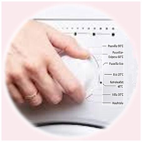 Pyykkikoneen manuaalinen säädin, jolla pesuohjelmoinnin saa itse määritellyksi.