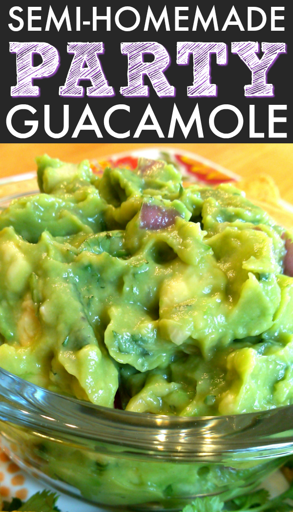 An unbelievably easy and inexpensive semi-homemade guacamole recipe using fresh ingredients like avocado, onion and garlic with prepared guacamole from the produce department of your favorite grocery store.