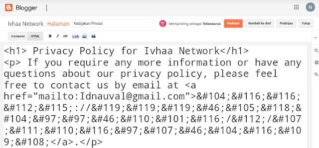 Cara Membuat Halaman Privacy Policy, Disclaimers, dan Terms of Service di Blogger
