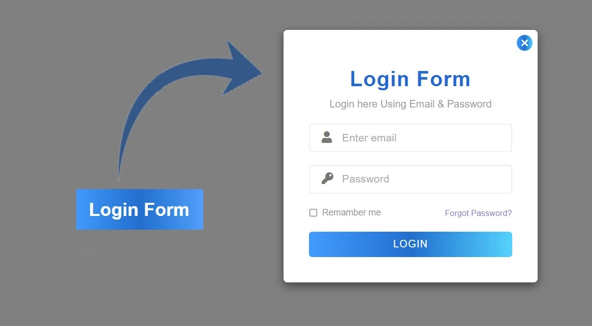 Popup Login Form Design Using HTML and CSS