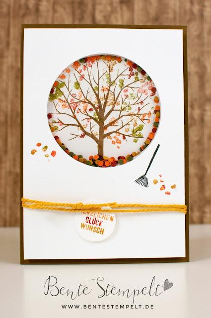 Stampin Up Baum der Freundschaft sheltering tree Blätter Herbst Schüttelkarte shaker card Schüttelfenster