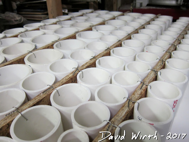 pvc pipe rows, rows of shelves