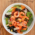 King Prawn & Chorizo Salad with Garlic & Olive Loaf