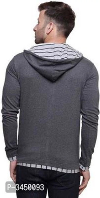 Men's Grey Cotton Hooded Tees